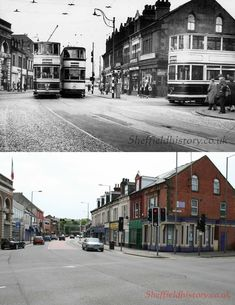 Then & Now - Sheffield Trams Sheffield, Public Transport, The Good Place, Street View, London, History, Amazing Places, Historia, London England