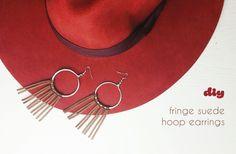 Fringe faux Suede Hoop Earrings | DIY