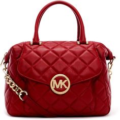 MICHAEL Michael Kors Large Fulton Quilted Leather Satchel Bag ($398) ❤ liked on Polyvore