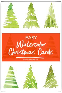 Make your own watercolor cards Easy watercolor christmas card tutorial. Make your own watercolor cards Simple Christmas Cards, Christmas Tree Cards, Easy Christmas Crafts, Christmas Art, Holiday Cards, Christmas Vacation, Painted Christmas Cards, Christmas Cactus, Easy Diy Xmas Cards