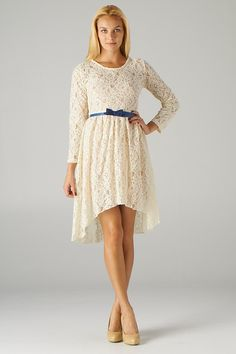 Lavishville - Belted Hi-Lo Lace Dress (Off-White Taupe), $35.00 (http://www.lavishville.com/belted-hi-lo-lace-dress-off-white-taupe/)