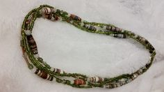 """33"""" Brown and Green Necklace with Green Seed Beads, 4-5 mm Snow Agates, Crystal and Glass Accents, Iridescent Glass Tubes and Lobster Clasp by PaperBeadChicFun on Etsy"""