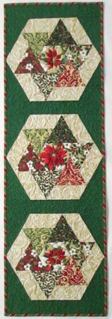 Holiday Elegance Spinners Table Runner Kit Love the look of this runner. Plus it goes together quick and easy. Clever EPP design.