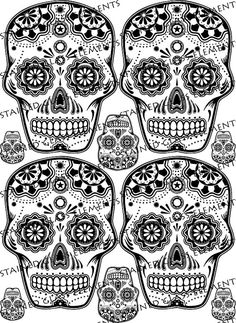 Mexican sugar skulls, ceramic decals. For sale at the Etsy shop of Stained Glass Elements. Keramische transfers sepia, suiker schedels decals, decals voor keramiek, decals voor glas, decals voor emailleren, Mexicaanse schedels
