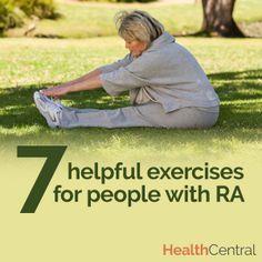 Living with #rheum #arthritis (#RA)? Learn 7 exercises that are helpful for those living with rheumatoid arthritis:    http://www.healthcentral.com/rheumatoid-arthritis/cf/slideshows/7-exercises-people-rheumatoid-arthritis?ap=2012