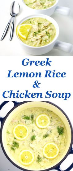 Greek Lemon Rice and Chicken Soup also known as Avgolemono is probably one of the easiest and tastiest soups I've ever made! Greek Lemon Rice and Chicken Soup also known as Avgolemono is now one of my favorite easy soups to make! This is so savory. Spaghetti Bolognese Original, Lemon Curd Dessert, Easy Soups To Make, Greek Lemon Chicken Soup, Greek Lemon Rice Soup, Greek Rice, Cooking Recipes, Healthy Recipes, Cooking Pasta
