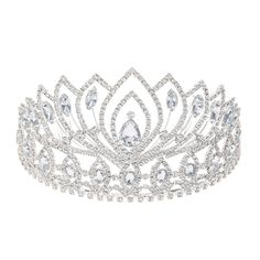 This tall crystal tiara has tons of sparkle that is fit for a queen. Large crystals accent the openings of small rows of crystal form.Silver-tone finish Secure comb grips