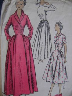 1940s UK Mc Calls retro vintage wrap flared dressing gown sewing pattern | eBay