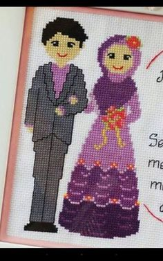 This Pin was discovered by Esr Cross Stitch Family, Cross Stitch Letters, Embroidery Motifs, Cross Stitch Embroidery, Stitch Patterns, Crochet Patterns, Marriage Issues, Wedding Cross Stitch, Crochet Fabric