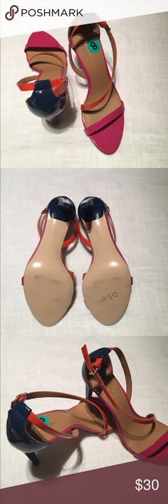 NWOB Calvin Klein heels These are gorgeous in pink, navy & orange patent leather.  NWOB and only marks on soles are from being tried on in store.  Pet/smoke free home. Calvin Klein Shoes Heels