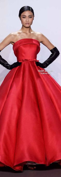 Ralph & Russo Spring 2014 HC | Raspberry red silk strapless gazar ballgown with soft roll collar and bow belt | High fashion