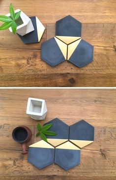These black hexagonal concrete coasters are modern with gold painted on a single edge.