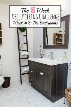 The 6 Week Decluttering Challenge Week 2 – Decluttering The Bathrooms.  Tips, ideas, and a free planning printable to help get you started.