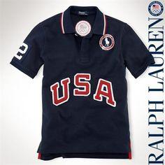 Ralph Lauren USA Youth #1 Mesh Polo - Navy Blue