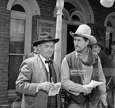 Milburn Stone as Doc Adams and Ken Curtis as Festus Haggen in the GUNSMOKE episode, 'Circus Trick.' Image dated June Ken Curtis, Cowboy Love, Cowboy Pics, Cowboy Art, Milburn Stone, The Virginian, Tv Westerns, Vintage Tv, Tv Actors