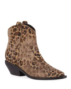 Sigerson Morrison Tacyly Distressed Leopard Booties In Tan/black Leopard Leather Ankle Boots, Calf Leather, Sigerson Morrison, Glam Rock, Manolo Blahnik, Pebbled Leather, Block Heels, Calves, Shoe Boots