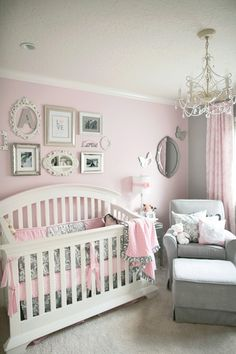 Love the elegance of this baby room! It really reminds me of my wedding color palette, and it's very classy with the chandelier too [Pink & grey baby room. It could translate to a big girl room, later down the road.]