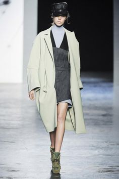 Sasha Antique Green Unlined Cocoon Coat by Acne