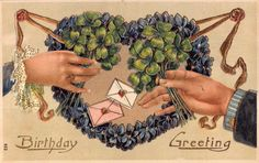 Postcard Birthday Greetings Man and Woman Holding Four Leaf Clovers~108358 #Birthday