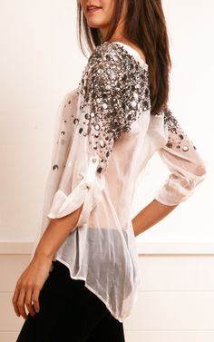 Elizabeth and James White Chiffon Blouse