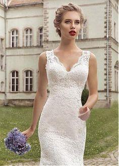 Elegant Lace V-neck Neckline Mermaid Wedding Dress
