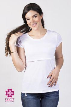 55103828b Blusa para lactancia modelo open neck color blanca. Siéntete fresca y  hermosa en esta etapa.