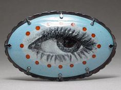 Jessica Calderwood - 'Portrait of an Eye' Brooch/Pendant -- Enamel on copper, sterling, stainless steel