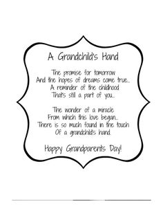 Free Grandparents Day Crafts For Preschoolers Grandparents Day Crafts Ideas on On Handprint Poem Ideas Great Grand Grandparents Day Poem, Grandparents Day Activities, Grandparent Gifts, Preschool Crafts, Crafts For Kids, Preschool Classroom, Kindergarten, Daycare Crafts, Classroom Rules