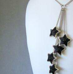 Starburst Necklace - Party Time - Three Dimensional Peyote Beadwoven Stars Necklace   by miamiamia.etsy.com