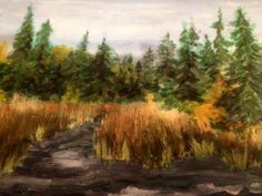 """Lac La Plonge River on a Grey Day, 2012, 12"""" x 16"""", Acrylic on Canvas.  SOLD."""