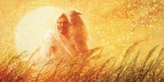 painting of jesus christ returning with a sheep on his shoulders. great big yellow sun in background Bible Verse Pictures, Jesus Pictures, Lord Is My Shepherd, The Good Shepherd, Jesus Art, Jesus Christ, Lamb's Book Of Life, Surely Goodness And Mercy, Jesus Cartoon