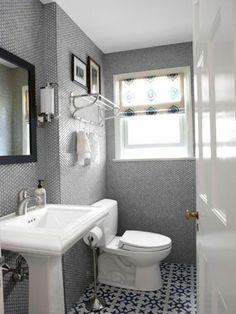 all tile bathroom, cement tile floor