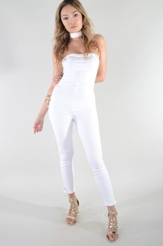 fcdf6263aef  ad White Bodycon Strapless Jumpsuit With Floating Choker. Price   15.99.  This figure