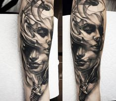 Morph Faces tattoo by Jake Ross Tattoos