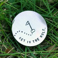 custom sterling silver golf marker, personalize with initials or phrase. $24