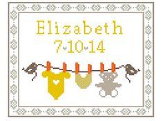 Birth Sampler - Cross stitch pattern PDF, Birth Announcement, Baby Cross Stitch, Nursery Wall Art, Baby Room Decor, Baby Shower Gift