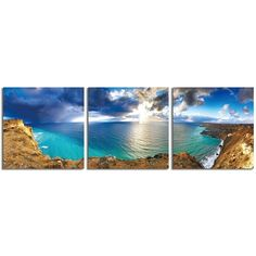 """Elementem Photography: """"Over the Cliff"""" Photography Print 3-Panel Panoramic Wall Art"""