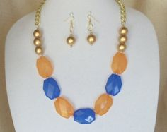 "Check out Cobalt Blue,Orange Acrylic Faceted Beads,Team Color 23""Long Statement Necklace Set,Gold Wood Bead,Gold Pearls,Gold Chain,Earrings,#SJ1009NE on ckdesignsforyou"