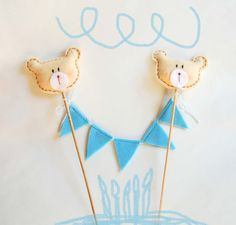 Birthday cake topper felt,bunting,teddy bear, gift, cake,blue,christmas,gift, one year old,baby boy,handmade in italy
