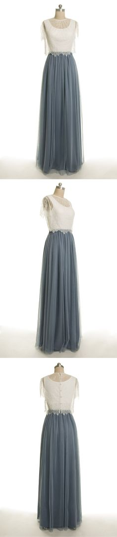 long tulle dusty blue bridesmaid dress with ivory top