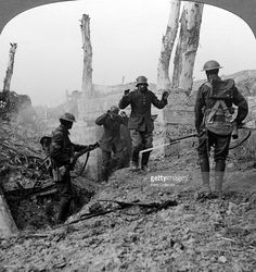 German soldiers surrendering, Bullecourt, France, World War I, 1914-1918. British and Australian troops captured Bullecourt from the Germans in May 1917 during the Battle of Arras. Stereoscopic card detail.