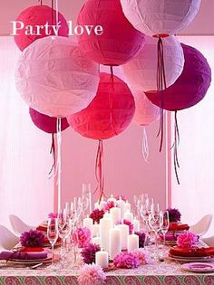 pink love - table setting this would be cool...but how to hang without wrecking our ceiling?