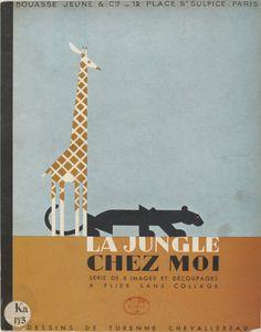 8 animaux de la #jungle à découper et à monter (et sans collage !) > Une petite merveille datée de 1938 > http://gallica.bnf.fr/ark:/12148/btv1b8556538q/f1.image #artdeco #freeprintables #papertoy