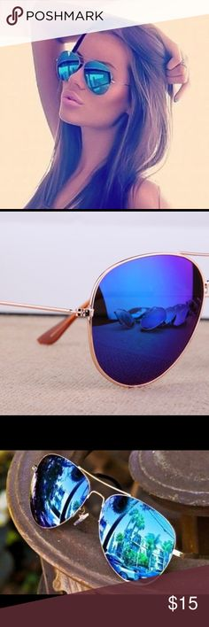 Aviator sunglasses Very fashionable blue mirror sunglasses, metal frame, brand… - accessories Blue Aviator Sunglasses, Cute Sunglasses, Sunglasses Accessories, Sunnies, Mirrored Sunglasses, Blue Aviators, Spider Girl, Blue Mirrors, Eyewear