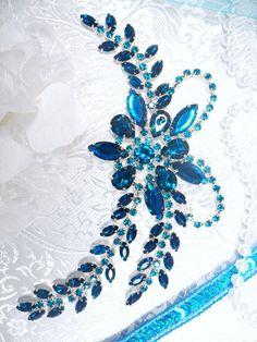 XR127 Turquoise Crystal Rhinestone Applique Bryanna by gloryshouse, $13.99