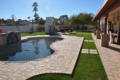 Resurfaced Pool Deck and new water feature - mediterranean - landscape - phoenix - Straight Line Landscape