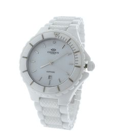 Oniss ON8011-M/WT All White Ceramic With X Pattern Link Strap MOP Dial