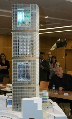 Jean Nouvel. Signel Tower (model, with Mr. Nouvel behind). To be complete in 2014. La Defense, Paris.