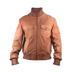 FactoryExtreme Majore Bomber Men's Tan Leather Jacket #Brown #Leather #PilotGear #Timeless