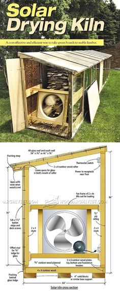 Solar Kiln Plans - Woodworking Tips and Techniques - Woodwork, Woodworking, Woodworking Plans, Woodworking Projects Woodworking Techniques, Woodworking Wood, Woodworking Projects, Woodworking Equipment, Outdoor Plywood, Solar Kiln, Installation Solaire, Wood Kiln, Wood Tools